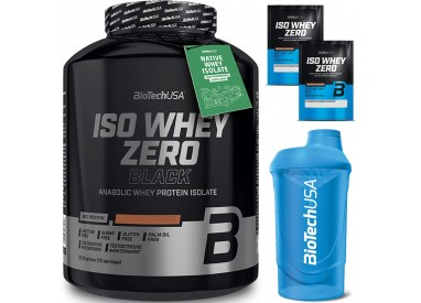 Biotech Usa Iso Whey Zero Black 2270 gr Proteine Siero Latte Isolate Gluten Free senza Lattosio Vari Gusti + Shaker