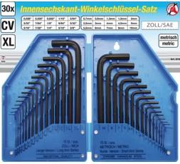Serie 30 pezzi chiavi maschio esagonali piegate misure in pollici e metriche BGS810