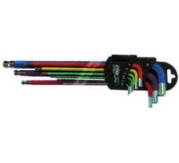 Serie 9 chiavi esagonali testa sferica colorate con magnete FERMEC32519